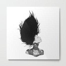 Black and White Peony Woman Metal Print