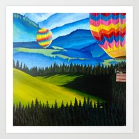 hot air balloons Art Prints featuring Acrylic Hot Air Balloons by Megan White