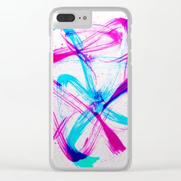 Expressive Brushstrokes of Hot Pink and Electric Cyan Clear iPhone Case