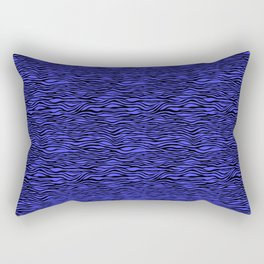 Black and Bright Neon Blue Tiger Stripes Animal Print Rectangular Pillow