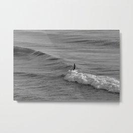 Surfer riding a Wave Metal Print