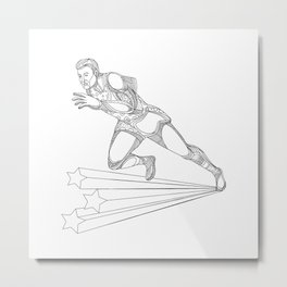 Track and Field Athlete Running Doodle Art Metal Print