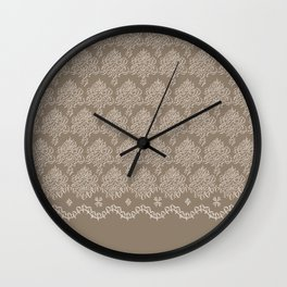 Coffee Color Damask Chenille with Lacy Edge Wall Clock