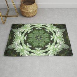 Tropical Twist - Green Leaves Kaleidoscope, Mandala Rug