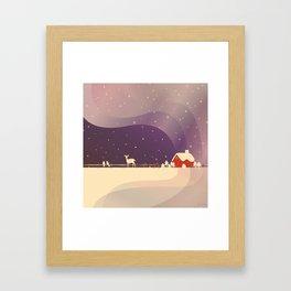 Peaceful Snowy Christmas (Plum Purple) Framed Art Print