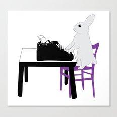 A Bunny's Life, animal gift, typing bunny, animal lover gift, bunny gift Canvas Print