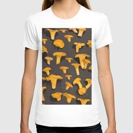 Chantterelles On A Dark Grey Background - Autumn Harvest - #Society6 #buyart T-shirt