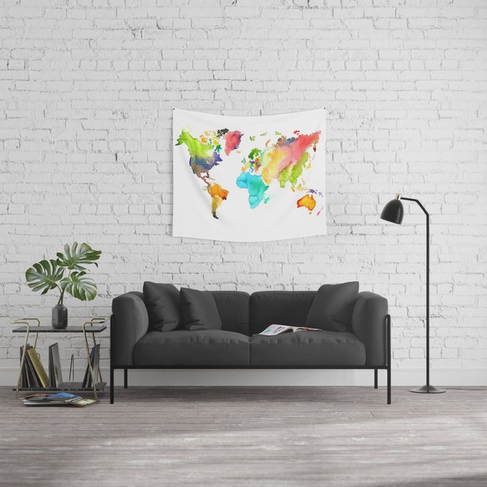 Watercolor World Wall Tapestry