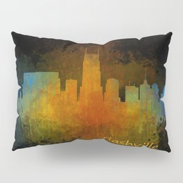 Nashville city skyline Tennessee watercolor v4 Dak Pillow Sham