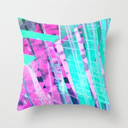 Purple Green Abstract Throw Pillow