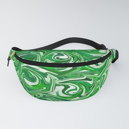 Emerald Green, Green Apple, and White Paint Swirls Fanny Pack