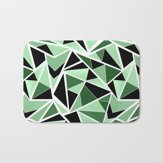 Abstract geometric pattern in black and green tones .Triangles . Bath Mat