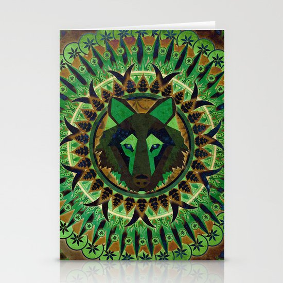 Wolf in Green Stationery Cards