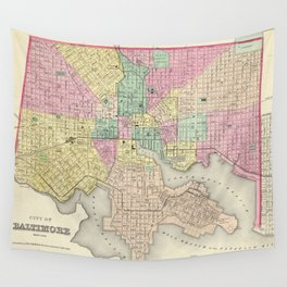 Vintage Map of Baltimore MD (1856) Wall Tapestry