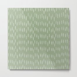 Raindrop Boho Abstract Pattern, Sage Green Metal Print