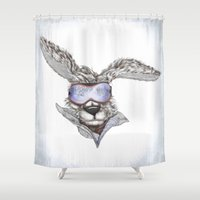 snowboarding Shower Curtains featuring Snow Bunny by Skuishy
