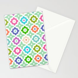 Moroccan Tile - colourful, green, teal, blue, purple,  orange Stationery Cards