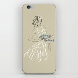 girls in white dresses with blue satin sashes iPhone Skin