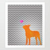 Boston Terrier Love Art Print