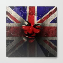 Guy Fawkes Day Union Jack Distressed Flag and Mask Metal Print