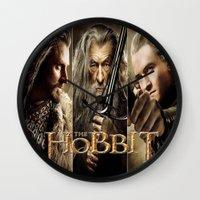 the hobbit Wall Clocks featuring  Hobbit by ira gora