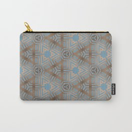 Beige and Blue Contemporary Tribal Pattern Carry-All Pouch
