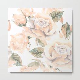 Pastel Peach Rose Garden Metal Print