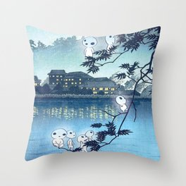 Kodama, Forest spirits vintage japanese woodblock mashup Throw Pillow