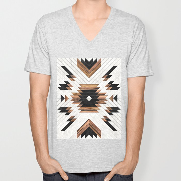 Urban Tribal Pattern No.5 - Aztec - Concrete and Wood Unisex V-Neck