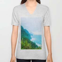 green mountain and ocean view at Kauai, Hawaii, USA Unisex V-Neck