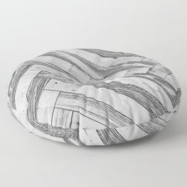 Vintage Diagonal Design //Black and White Wood Accent Decoration Hand Scraped Design Floor Pillow