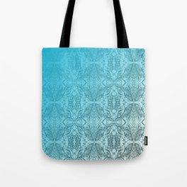 Blue Gradient Floral Doodle Pattern Tote Bag
