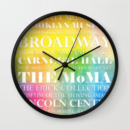 New York Arts - white text on color Wall Clock