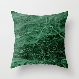 Dark emerald marble texture Throw Pillow