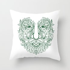 Green Man Head Front Mandala Throw Pillow