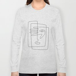 Square Face One Line Art Long Sleeve T-shirt