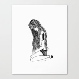 T.A : Sitting Girl Canvas Print