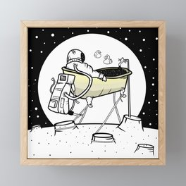 Astronaut in a bathtub Framed Mini Art Print