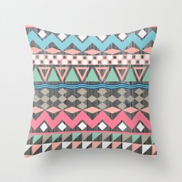 Vintage Wood Aztec, Andes Teal & Pink Abstract Pattern Throw Pillow