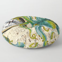 Octopus Compass Green Music Collage Floor Pillow