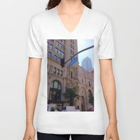 broadway V-neck T-shirts featuring Off Broadway by Jacqueline Obispo