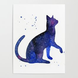 Galaxy Cat Watercolor Poster