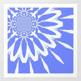 The Modern Flower Baby Blue & White Art Print
