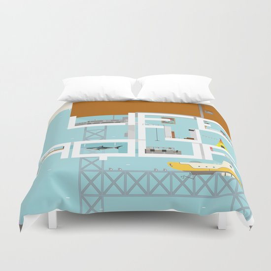 LIFE IN AQUA Duvet Cover