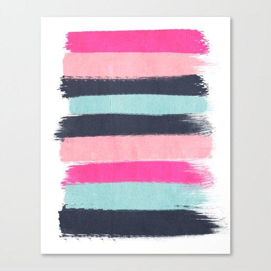 Miri - abstract stripes painterly brushstrokes minimal office dorm or college girly art decor Canvas Print