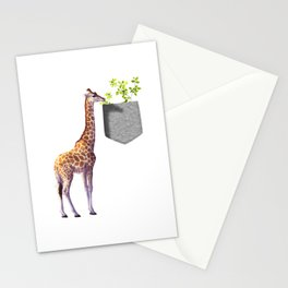 Giraffe Reaching For Branch With Leaves In Fake Pocket Wildlife Gift Design  Stationery Cards