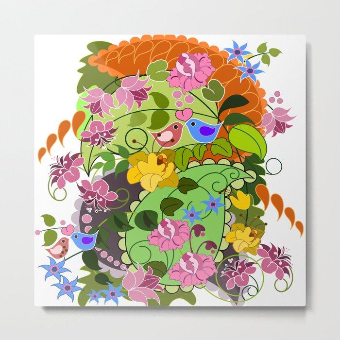 Retro Paisley shapes, damask flowers & Love birds Metal Print