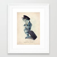hat Framed Art Prints featuring The Pilot by Eric Fan
