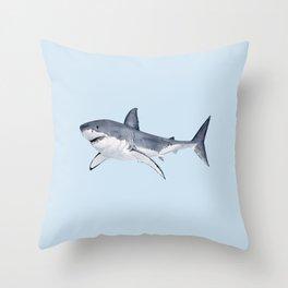 GREAT WHITE SHARK (light blue) Throw Pillow