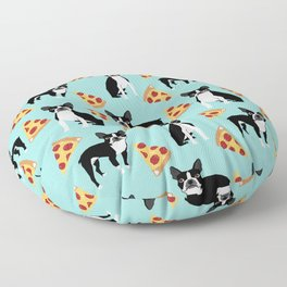 Boston Terrier pizza party cute pet portraits junk food pizza slices with boston terrier pattern  Floor Pillow
